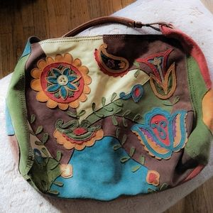 Rare Lucky Brand Suede Floral Patchwork Hobo Bag